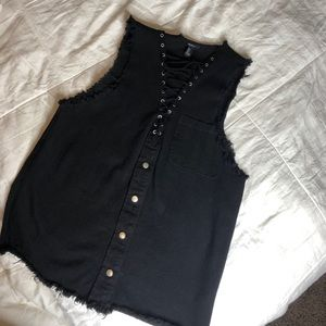 Black distressed dress or coverup